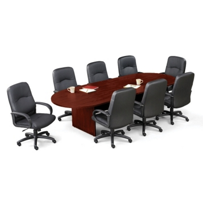 Contemporary 10' Conference Table with 8 Leather Chairs
