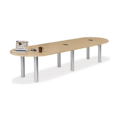 12' W Racetrack Conference Table with Data Ports