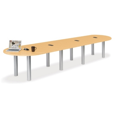 16' W Racetrack Conference Table with Data Ports