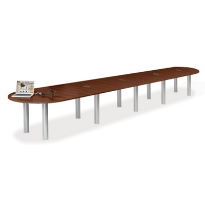 20' W Racetrack Conference Table with Data Ports