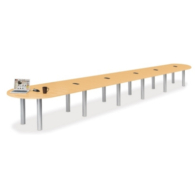 24' W Racetrack Conference Table with Data Ports