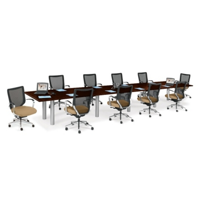 20' Conference Table with 10 Mesh Chairs