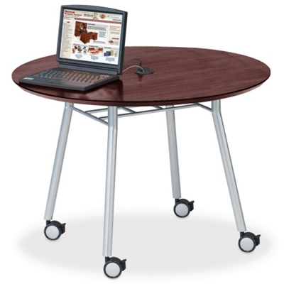 "Mobile 42"" Round Conference Table with Data Port"