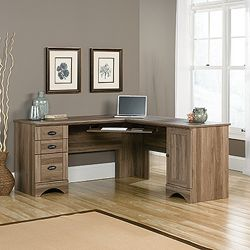 Corner L-Desk with Reversible Storage