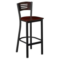 Metal Stool with Wood Seat & Back