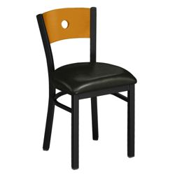 Circle-Back Chair with Wood Back and Black Frame