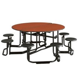"60"" Round Table with Black Frame and 8 Seats"