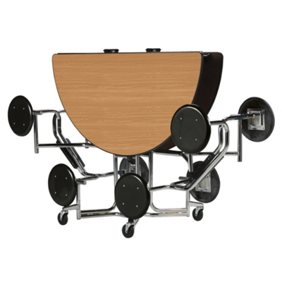 """60"""" Round Table with Chrome Frame and 8 Seats"""
