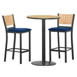 "Cafe au Lait Oversized Stools and 30"" Round Bar Height Table Set"