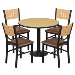 "Cafe au Lait Oversized Chairs and 36"" Round Standard Height Table Set"