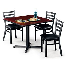 "36""W Square X-Base Breakroom Table with Four Chairs"
