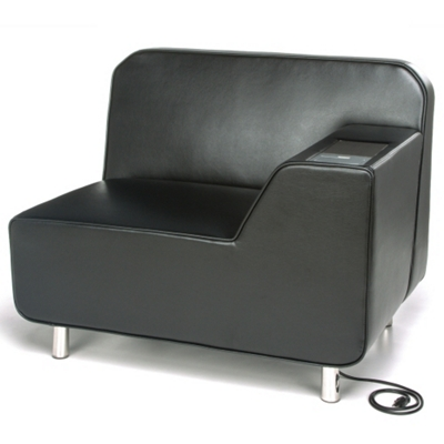 Left Arm Polyurethane Lounge Chair with Inlay Table and Electrical Outlet