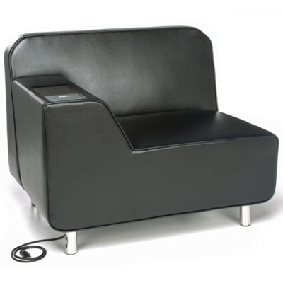Right Arm Polyurethane Lounge Chair with Inlay Table and Electrical Outlet