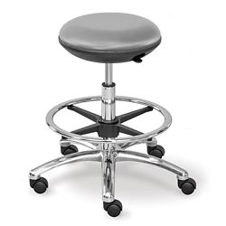 Polyurethane Adjustable-Height Stool with Footring and Memory Foam Seat