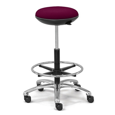 Fabric Adjustable-Height Rolling Stool with Footring and Memory Foam Seat