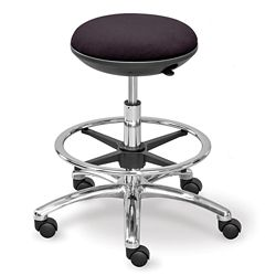 Fabric Mid Range Rolling Stool with Footring and Memory Foam Seat