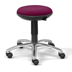 Fabric Adjustable-Height Rolling Stool with Memory Foam Seat