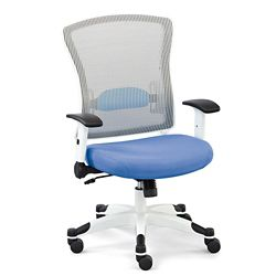 Linear Collection White Mesh Chair with Flip Arms and Memory Foam Seat