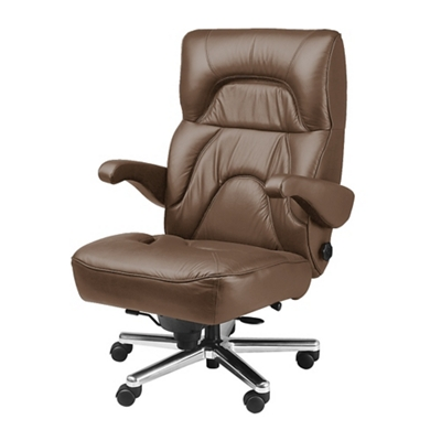 Tall Office Chair In Genuine Leather, Real Leather Office Chair