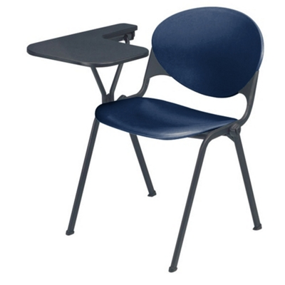 Heavy Duty Plastic Stacking Chair with Tablet Arm - Specify Right or Left