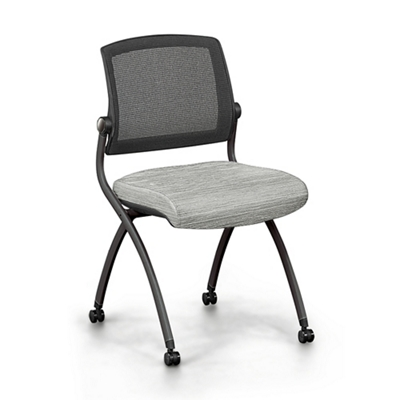 Nex Armless Mesh Back Fabric Nesting Chair with Dual-Purpose Casters