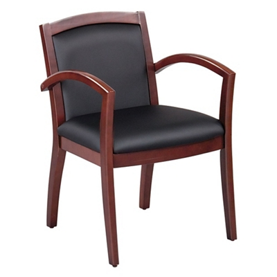 Expressions Full Back Faux Leather Wood Frame Chair