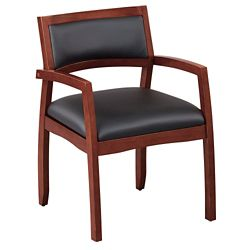 Expressions Half Back Faux Leather Wood Frame Chair