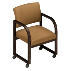 Designer Fabric Open Back Conference Chair with Casters