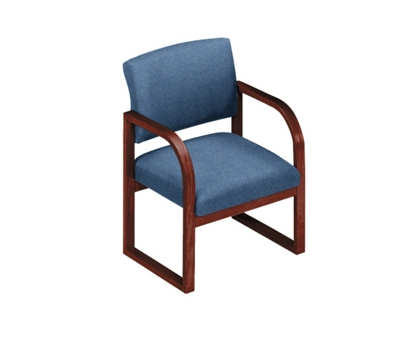 Heavy-Duty Vinyl Sled Base Open Back Conference Chair with Arms