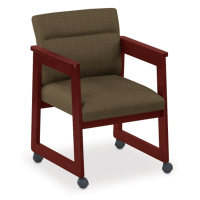 Print Fabric Tapered Arm Chair with Casters
