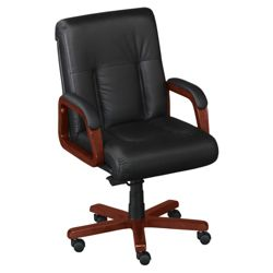 Black Leather Executive Mid Back Chair
