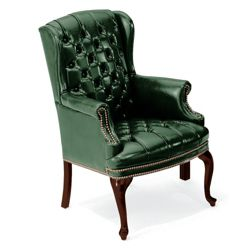 Compact Traditional Leather Wing Chair