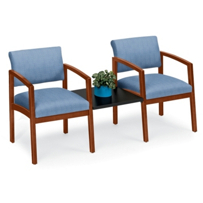 New Castle Designer Upholstery Two Chairs with Center Table Set