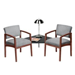 New Castle Designer Upholstery Two Chairs with Corner Table Set
