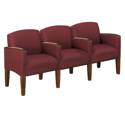 Solid Fabric Belmont Three Seater with Center Arms