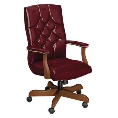 Traditional Leather High Back Chair