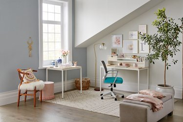 Brite Collection two desk set in an angular room shown at a wide angle