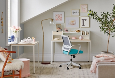 Brite Two Desk, Hutch, Mesh Chair Home Office Set