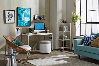 Brite Desk, Bookshelf, Active Ottoman Home Office Set