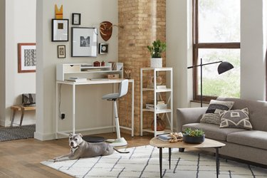 Brite Collection standing desk set shown in a living room