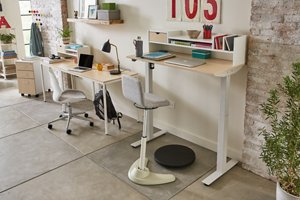 Brite Collection two-person desk setup shown at an angle