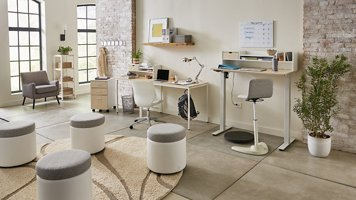 Brite Collection two-person desk setup shown at a wide angle