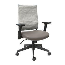 Flip Arm Fabric Back Task Chair with Polyurethane Seat