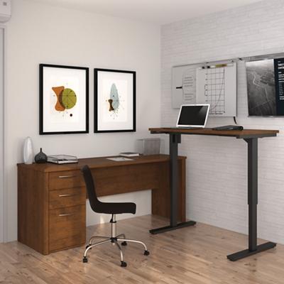 Reversible L-Desk with Adjustable Height Return
