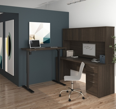 Reversible L-Desk with Adjustable Height Return and Hutch