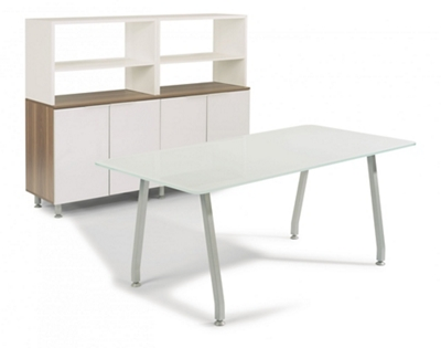 "72""W Glass Desk with Storage"