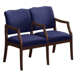 Spencer Two Seater with Center Arms in Solid Fabric