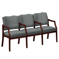 Three Seater with Center Arms in Print Fabric or Vinyl