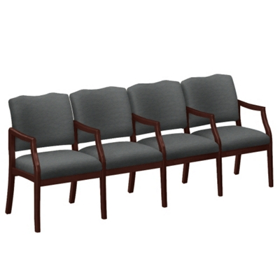 Spencer Four Seater with Center Arms in Print Fabric or Vinyl