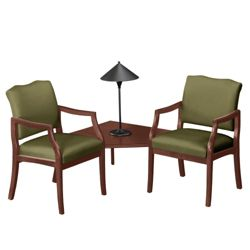 Spencer Two Chairs with Corner Table in Print Fabric or Vinyl